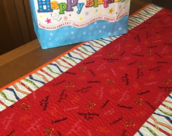 Quilted birthday party table runner handmade, handmade celebrate birthday quilted runner, red and white orange birthday table topper
