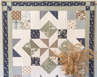 DIGITAL PATTERN: Marian Barn Quilt pattern - a charm pack quilt pattern,  mini charm pack quilt pattern, layer cake simple quilt pattern