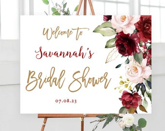 Burgundy Pink Floral Bridal Shower Welcome Sign, Printable Bridal Shower Sign Template, Editable Welcome Sign, Blush and Burgundy, VWC83