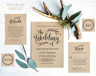 Vintage Wedding Invitation Set, Printable Wedding Invitation Template, Editable, Rustic Wedding Invitation Bundle, Kraft, DIY Wedding, VW01