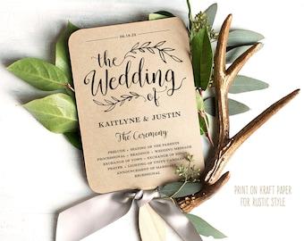 Printable Wedding Program Template, Rustic Wedding Fan Program, Editable, Wedding Fans, Editable, Wedding Fan, 5x7, Vintage, VW01