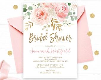 Bridal Shower Invitation Template, Editable, Printable Bridal Shower Invitation Card, Blush Pink Floral, Gold, VWC95