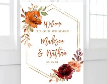 Fall Wedding Welcome Sign, Printable Welcome Sign Template, Editable, Boho, Autumn, Sienna, Burnt Orange, Sienna, Floral, Boho, VWC74