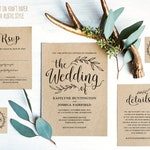 Vintage Wedding Invitation Set, Printable Wedding Invitation Template Download, Rustic Wedding Invitation, Kraft, DIY Wedding, VW01