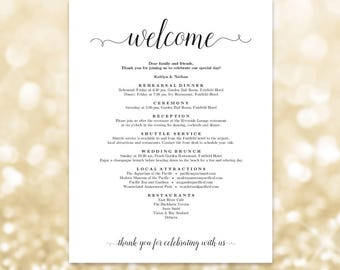 wedding welcome letter welcome itinerary printable wedding itinerary editable wedding stationery two sizes included