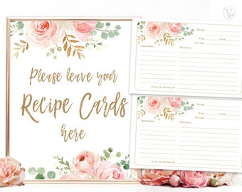 INSTANT DOWNLOAD Floral Recipe Card Recipe Card Pink Roses White Rose Printable Recipes for Bride to Be Party Printable Pink Flowers