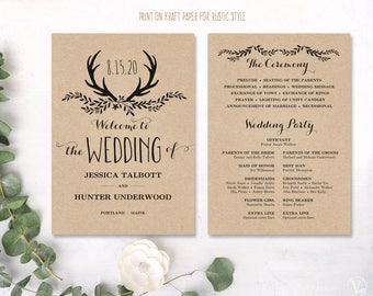 Rustic wedding programs   Etsy