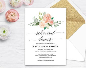 Printable Wedding Rehearsal Dinner Invitation Card Template Etsy