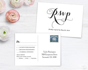 RSVP Postcard Template, Printable Wedding Postcard RSVP Card Template,  6x4.25 Inches, Editable, Fancy Script, VW04, VW12, VW13, VW14