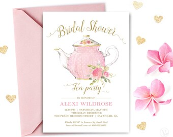 bridal shower tea party invitation template printable bridal shower invitation editable text pink and gold tea party