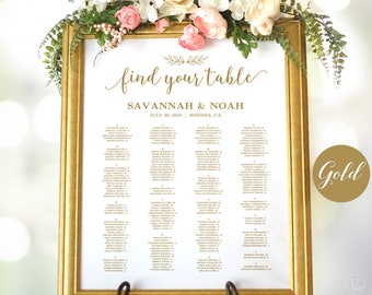 gold wedding seating chart template wedding seating chart poster minimalist seating chart sign modern calligraphy editable vw36