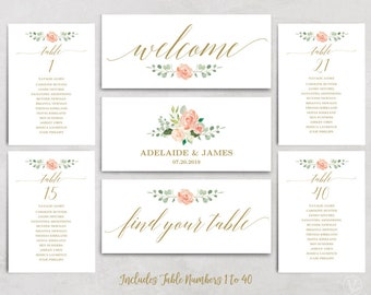wedding seating chart template header signs and table seating etsy