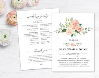 floral wedding program template printable wedding programs etsy