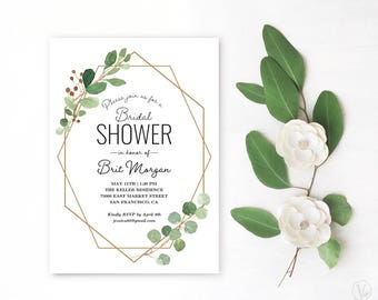 Printable bridal shower invitations etsy geometric greenery bridal shower invitation printable bridal shower invitation template geometric bridal shower vw21 filmwisefo