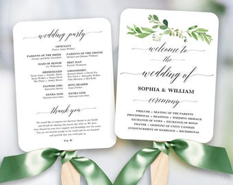 Greenery Wedding Fan Program Printable Wedding Fan Program Etsy