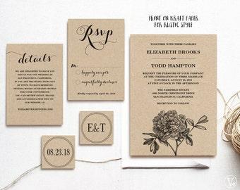 Printable Wedding Invitations Template Diy Kraft Wedding Etsy