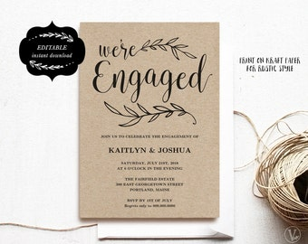 engagement invitation template printable engagement party invitation kraft invitation instant download editable text eng01 vw01