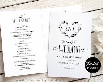 Printable wedding invitations programs and signs by vinewedding folded wedding program wedding program template printable wedding program heart wreath vw08 stopboris Choice Image