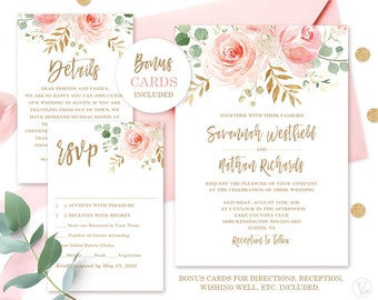Flower Wedding Invitations   Floral Wedding Invitation Etsy