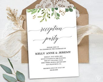 Wedding reception invitation etsy rustic greenery wedding reception invitation printable reception party invitation card editable text meadow vw28 junglespirit Choice Image
