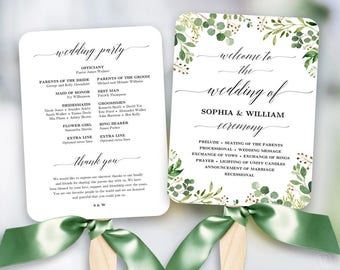 tropical wedding fan program printable wedding fan program etsy