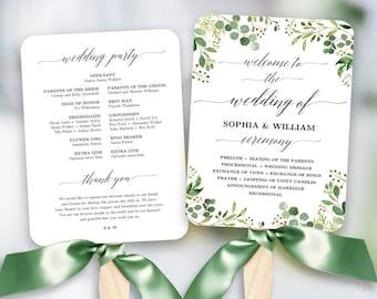 Rustic Greenery Wedding Fan Program Printable Template Programs DIY Meadow VW28