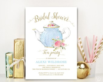 Bridal shower tea etsy bridal shower tea party invitation template printable bridal shower invitation editable text baby blue and gold tea party filmwisefo