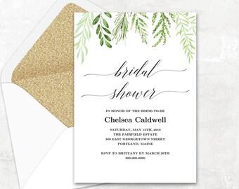 botanical greenery bridal shower invitation template printable bridal shower invitation editable text botanical greenery