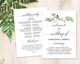 Greenery Wedding Program Template Printable Wedding Programs | Etsy