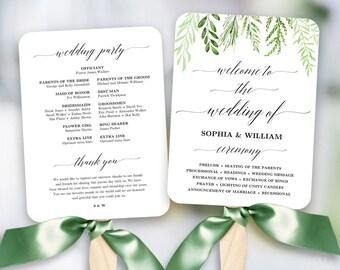 peach blush floral wedding program fan template printable fan etsy