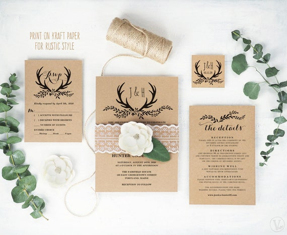 Rustic Wedding Invitation Printable Wedding Invitation Etsy