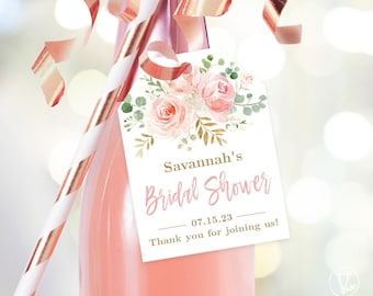 Bridal Shower Favor Tags, Printable Bridal Shower Favor Tag Template, Editable, Champagne or Wine Bottle Tags, Blush Pink Floral, VWC95