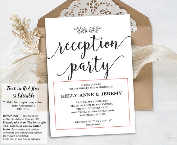 Wedding Reception Invitation Printable Reception Party Card Simple And Modern Instant Download Editable Text Modern Calligraphy Vw10