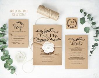 Rustic Wedding Invitation, Printable Wedding Invitation Template, DIY Wedding Invitation Cards, Kraft Invitation, Floral Mr & Mrs, VW18
