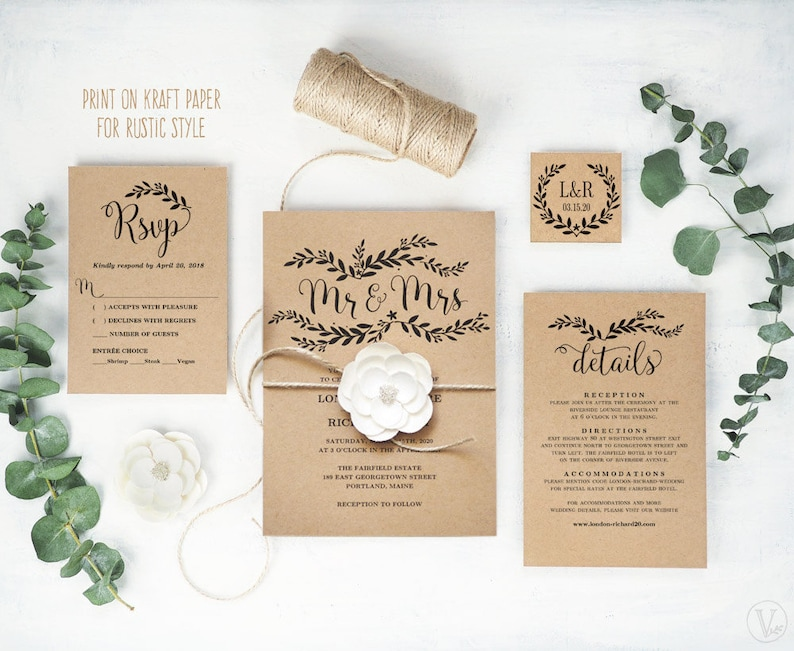 graphic regarding Etsy Wedding Invitations Printable named Rustic Marriage Invitation, Printable Marriage Invitation Template, Do-it-yourself Marriage ceremony Invitation Playing cards, Kraft Invitation, Floral Mr Mrs, VW18