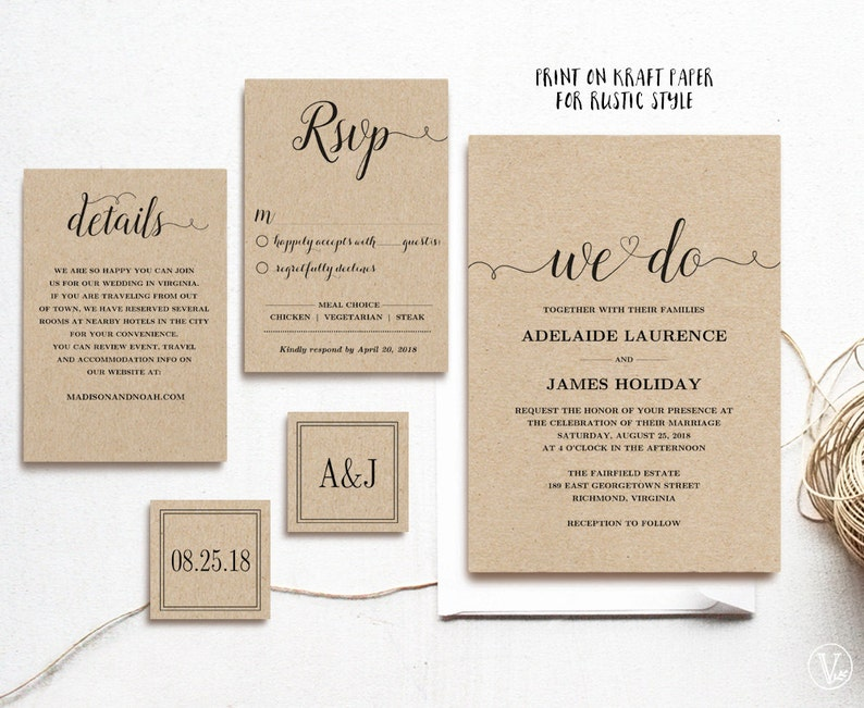 Wedding Invitation Template, Rustic Wedding Invitation Set, Kraft Wedding  Invites, INSTANT DOWNLOAD, Editable Text, We Do, VW02