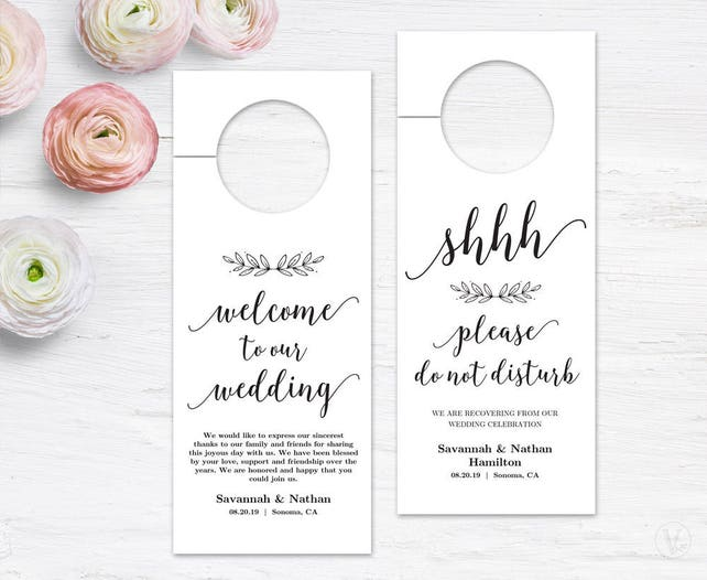 Wedding Door Hanger Printable Door Hanger Template Please Do Not