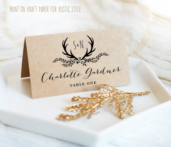 Wedding Name Card Wildflower place cards Folded Wedding Place Cards Whisper Wedding Place Card Rustic escort cards