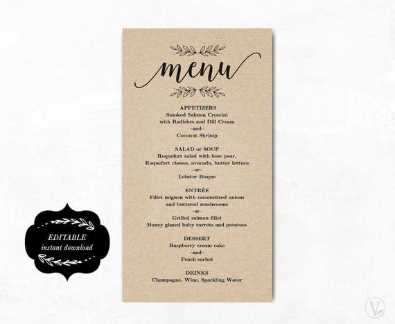 wedding menu template simple and elegant printable menu etsy