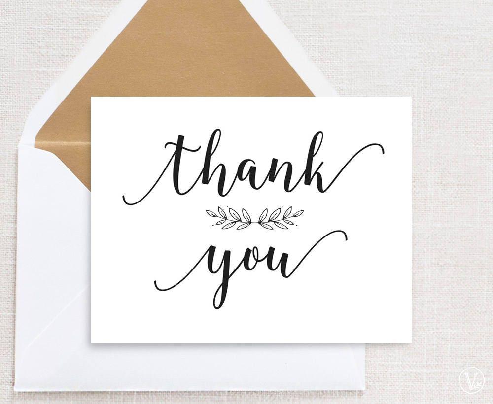 Wedding Gift Thank You Card Template: Printable Thank You Card Wedding Thank You Card Template