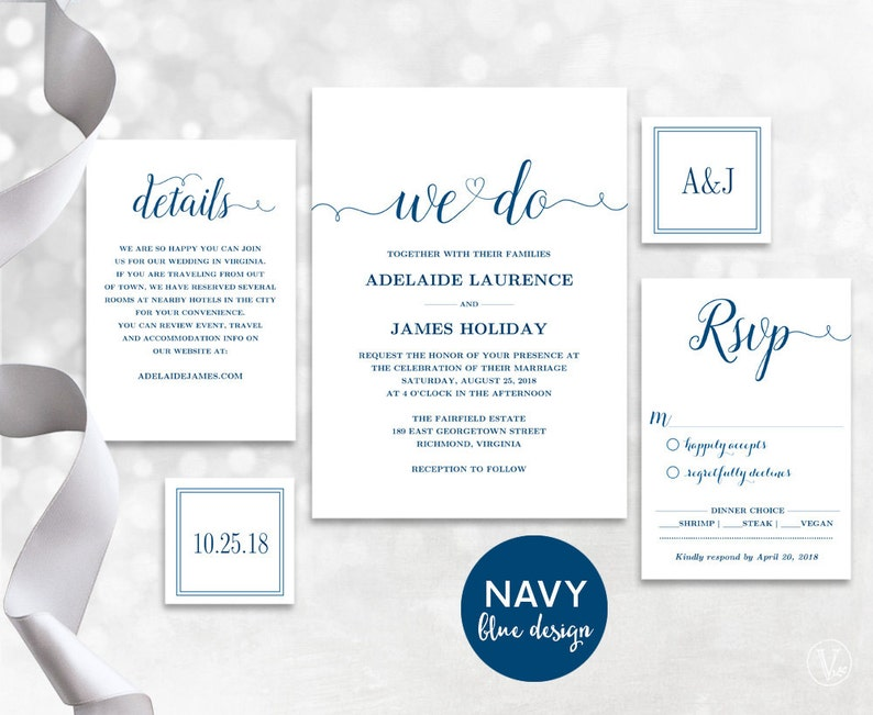 Navy Blue Wedding Invitation Template Invites INSTANT DOWNLOAD Editable Text We Do VW03