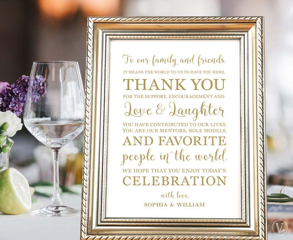 gold wedding thank you card or sign in 4 sizes 8x10 5x7