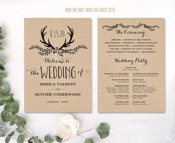 Printable Wedding Program Rustic Editable Template Kraft Floral Antler VW19