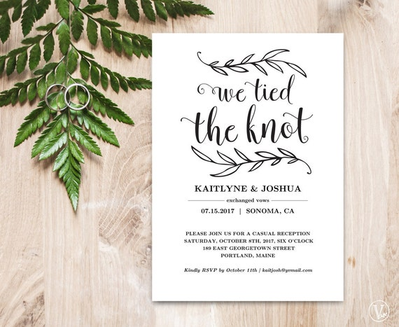 Elopement Wedding Invitations: Elopement Reception Invitation Template Elopement