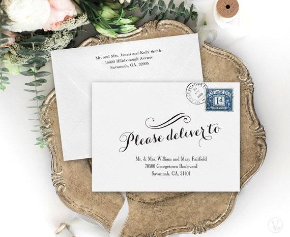 Wedding Envelopes Wedding Envelope Addressing Template Etsy