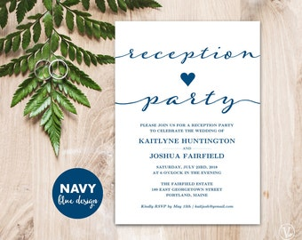 Navy Blue Wedding Reception Party Invitation Template, Kraft Reception Card, Instant DOWNLOAD - EDITABLE Text - 5x7, RP003