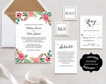 Printable Wedding Invitation Suite Template, DIY Wedding Invites,  Editable Text, Cheap Invitation, Instant download, Peony Flower, VW14