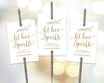 Gold Sparkler Tags Template, Printable Wedding Sparkler Tags, Let Love Sparkle Tags, VW38