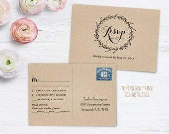 RSVP Postcard Template, Printable Wedding Postcard RSVP Card Template,  6x4.25 Inches,