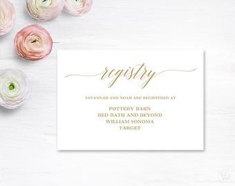 Gold Gift Registery Card Template, Printable Wedding Registry Card, VW27, VW29, VW31, VW35